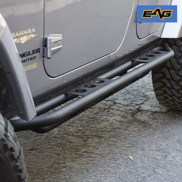 EAG Round hole Side Step Rock Slider Steel BLK 4Door for 18-19 Jeep Wrangler JL