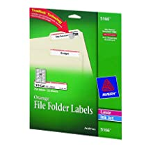 Avery® Orange File Folder Labels for Laser and Inkjet Printers with  TrueBlock(TM) Technology, 2/3 inches x 3-7/16 inches, Pack of 750 (5166)