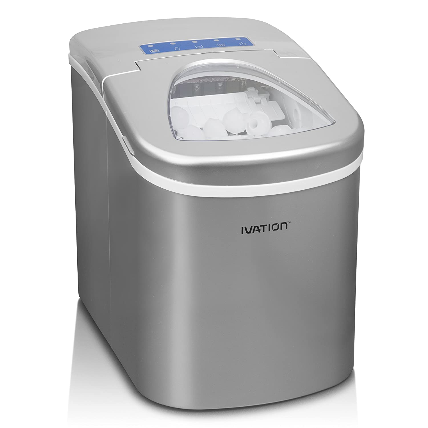 Ivation Portable High Capacity Household Icemaker w/Easy-Touch Buttons for Digital Operation-Features 2.5-Quart Water Reservoir - 2 Selectable Cube Sizes -Yield of up to 26.5 Pounds of Ice Daily