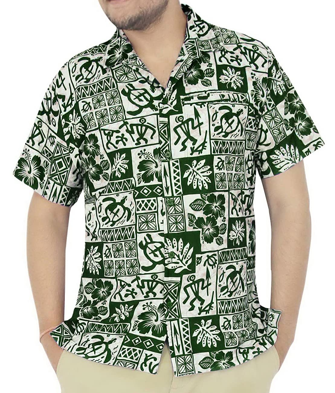 La Leela Hawaiian Shirt For Men Short Sleeve Front-Pocket Vintage Flora Green 0