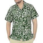 La Leela Hawaiian Shirt For Men Short Sleeve Front-Pocket Vintage Flora Green