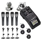 Zoom H6 Six-Track Portable Handy Recorder with the Movo Podcasting Bundle including 4-Pack of Handheld Microphones, Tabletop Mic Stands, Clips & Cables