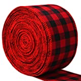 URATOT Red and Black Plaid Christmas Burlap Ribbon Christmas Wrapping Wired Ribbon Christmas Tree Wreaths Ribbon for Christmas Crafts Decoration, Floral Bows Craft, 393 by 2.48 Inch (Tamaño: 6.3cm x 10m)