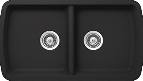 SCHOCK SOLN200U010 SOLIDO Series CRISTALITE 50/50 Undermount Double Bowl Kitchen Sink, Onyx