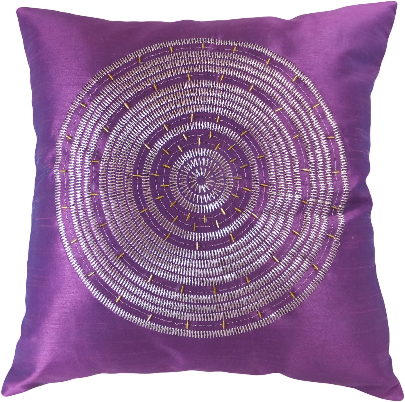 Decorative Emboirdery & Beads Floral Throw Pillow Cover 18 Purple