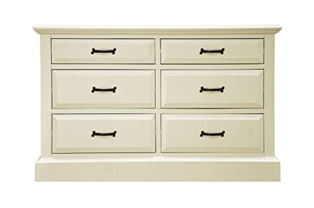K.Interiors Collection 120 x 42 x 77 cm Henley 6 Drawer Chest, Off-White