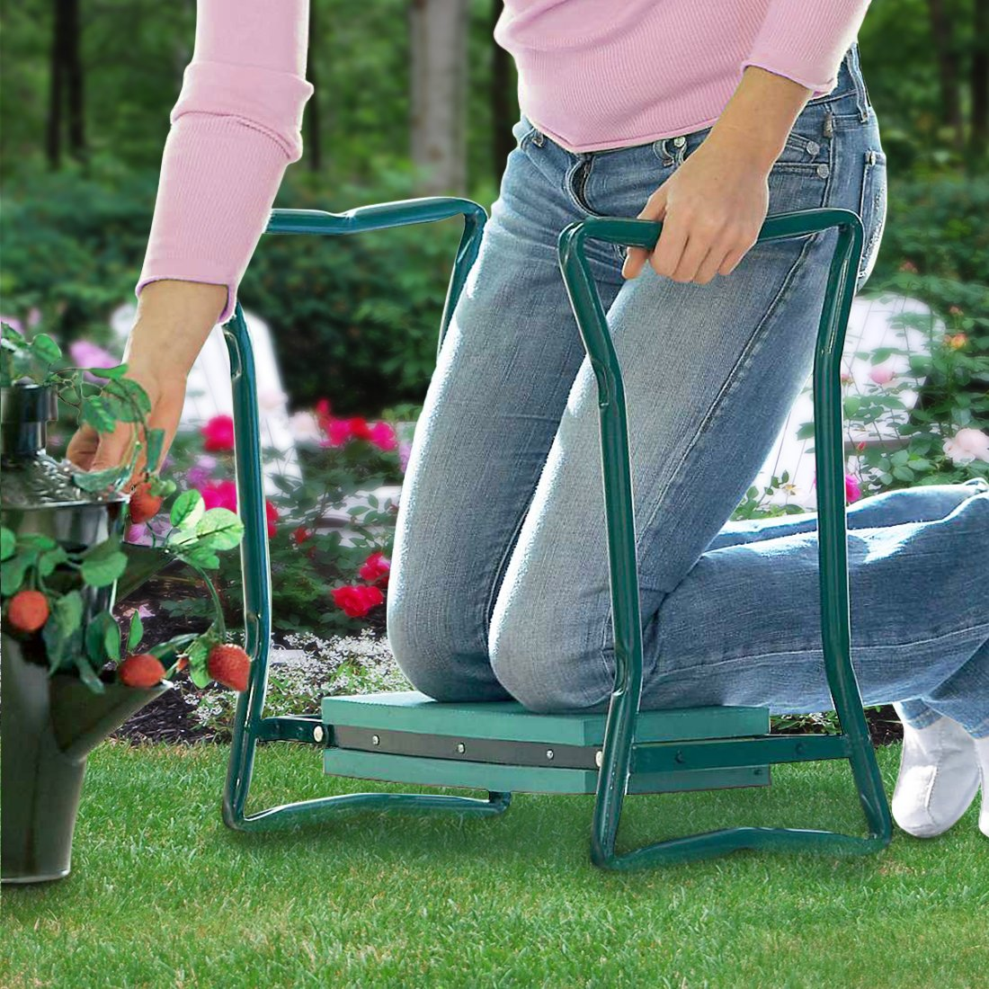 Garden Kneeler And Seat - Protects Your Knees, Clothes From Dirt & Grass Stains - Foldable Stool For Ease Of Storage - EVA Foam Pad - Sturdy and Lightweight - Comes With A Free Tool Pouch!