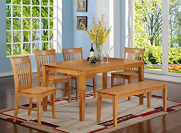 East West Furniture CANO6-OAK-W 6-Piece Dining Table Set