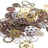 BIHRTC 100 Gram DIY Assorted Color Antique Metal Steampunk Gears Charms Pendant Clock Watch Wheel Gear for Crafting, Jewelry Making Accessory (Color: Assorted Color 2)