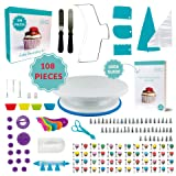 108 Pcs Cake Decorating Supplies | Non-Slip Turntable | Leveler 2-wire | 48 Icing tips | Straight & Angled Spatulas | 10 Pastry bags & Silicone Bag | 2 Flowers nails & Lifter | Gift Box | User Guide