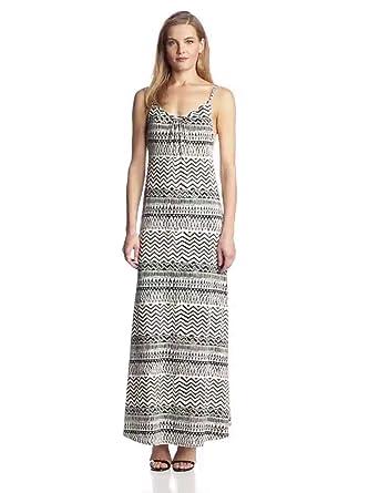 Ark & Co Women's Printed Jersey Maxi Dress, OFFWHITE BLACK, Medium