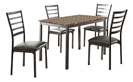 Homelegance 5038-48*5 Flannery 5-Piece Metal Dinette Set with Laminated Faux Marble Top