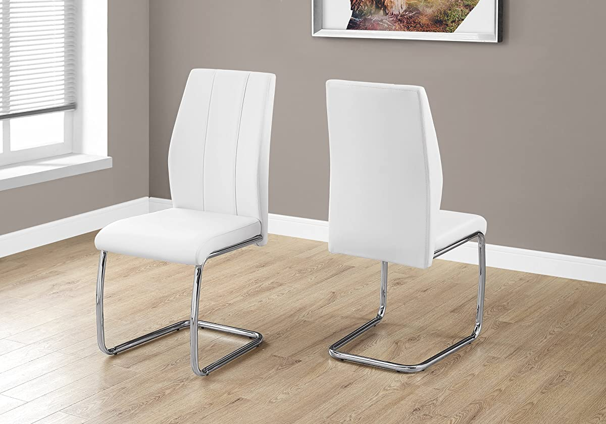 """Monarch Specialties I 1075 2 Piece Dining Chair-2PCS/39"""" H Leather-Look/Chrome, White"""