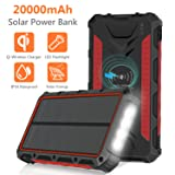 Solar Charger 20000mAh, Qi Wireless Portable Solar Power Bank, Waterproof External Backup Battery Pack with 4 Output&Input, LED Flashlight,Carabiner for Smart Phone,Tablets and More-Red (Color: Red)