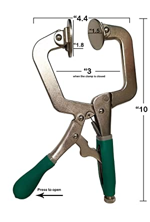 Woodworking 3 Metal Face Clamps   Heavy Duty C-Type Clamping Tools For Cabinetry   Ergonomic Corner Grip One-Handed Clamp Set For Craftsmen   Larger Flat Surface (2 Pack With Pads) (Color: green, Tamaño: 2 Clamps With Pads)