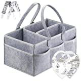 Putska Diaper Caddy Organizer Set: Portable Wipes Holder Bag for Changing Table and Car, Baby Nursery Essentials Storage Basket kit with 2 Pacifier Clips, 2 Bibs
