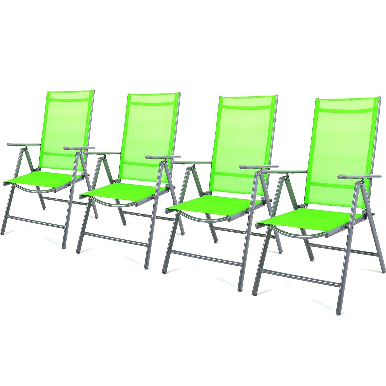Nexos 4-er Set Stuhl, Klappstuhl, Gartenstuhl, Hochlehner für Terrasse, Balkon Camping Festival, aus Aluminium verstellbar, leicht, stabil, grün