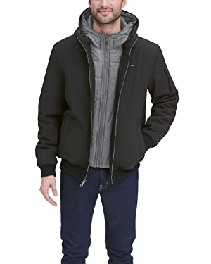 Tommy Hilfiger Men's Soft Shell Fashion Bomber with Contrast Bib and Hood, Black/Heather Grey, XL (Color: Black/Heather Grey Bib, Tamaño: X-Large)