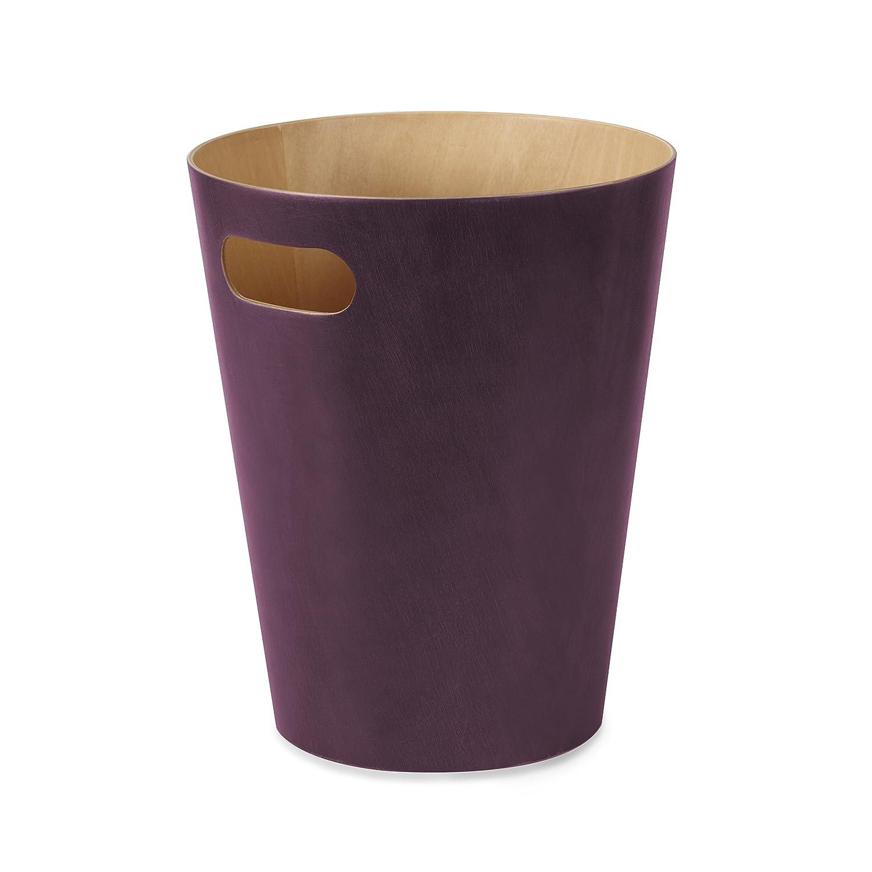 Umbra 082780-723 Cans und Bins Woodrow Mülleimer mit Griff, Abfalleimer, Müllsammler, Papierkorb, Gebeiztes Holz, Aubergine kaufen