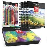 ARTEZA Watercolor Pencils Bundle: Professional Watercolor Pencils Set of 72, Woodless Watercolor Pencils Set of 24 and Watercolor Pad 5.5x8.5