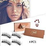 Magnetic Eyelashes Double Magnet Ultralight False Eye Lashes No Glue Premium Quality Soft and 3D Effect Silk Eyelash 4 Piece Full Strip New Style