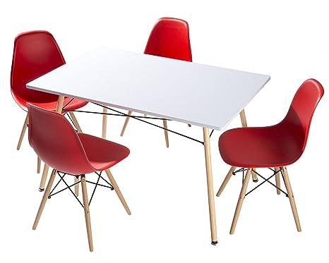 Conjunto de comedor 4 sillas nordicas rojo patas de madera y mesa nordica 120x80