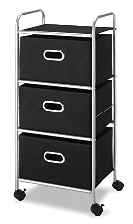 Whitmor 6705-3871-BLK-BB Three Drawer Cart with Black Polypropylene Drawers