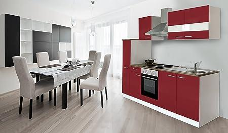 respekta Kuche Kuchenzeile Einbaukuche Kuchenblock 240 cm weiss rot Soft Close