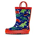 LONECONE Rain Boots with Easy-On Handles in Fun Patterns for Toddlers and Kids, Puddle-a-Saurus Dinosaur, Toddler 6