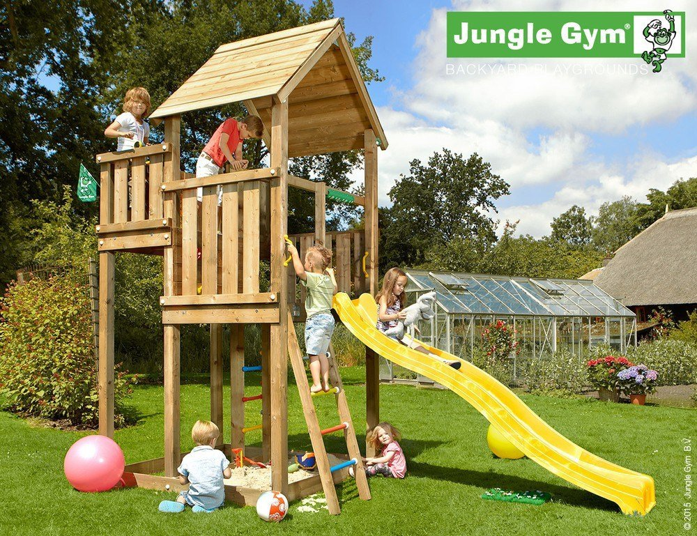 Spielturm Jungle Palace – Set mit Feuerwehrstange Sandkasten Kletterturm – Jungle Gym (inkl. Holzpaket) jetzt kaufen