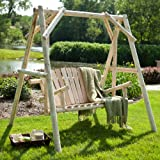 Rustic Natural Log Curved Back Porch Swing and A-Frame Set