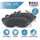 Lewis N. Clark Comfort Eye Mask + Sleep Aid to Block Light for Travel, Airplane, Hotel, Airport, Insomnia + Headache Relief with Adjustable Straps, 2 pack, Black (Color: Black, Tamaño: 2 pack)