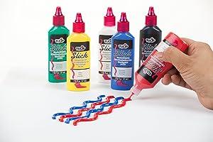 Tulip Washable Slick 3D Fabric Paint Set, Assorted Colors, Set of 6
