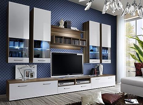TV-DORADE Schränke / TV Ständer / TV-Schrank / TV Schrank / HIGH GLOSS, erhältlich in 11 Farben!!! WALNUT/WHITE II