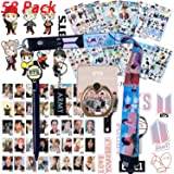 BTS Bangtan Boys Gift Set for ARMY - 12 Sheet of BTS Stickers, 40 Pack BTS Photo Card, 2 Pack 3D Stickers, 1 Pack BTS Long Lanyard, 1 Pack BTS Finger Ring, 1 Pack BTS Key Chain, 1 Pack BTS Pen