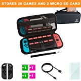 Carrying Case and Screen Protector for Nintendo Swtich, Mebarra Switch Accessories Starter kit Include Protective Travel Shell Case, Charging Cable, Joy-Con Cover (29 Game Cards Holders, Black) (Color: Black, Tamaño: 29 Game Cards Holders)