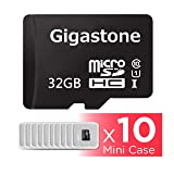 Gigastone Micro SD Card 32GB 10-Pack Micro SDHC U1 C10 with Mini Case High Speed Memory Card Class10 Uhs Full HD Video Nintendo Gopro Camera Samsung Canon Nikon DJI Drone- Black (Color: 32GB 10-Pack)