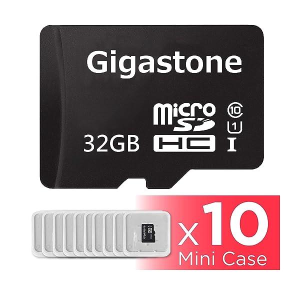 Gigastone Micro SD Card 32GB 10-Pack Micro SDHC U1 C10 with Mini Case High Speed Memory Card Class10 Uhs Full HD Video Nintendo Gopro Camera Samsung Canon Nikon DJI Drone- Black (Color: 32GB 10-Pack)