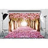 8x8ft Cherry Blossoms Street Vinyl Photography Background Amazing Sakura Flower Road Wedding Photography Backdrop Studio Props RM-006 (Color: Rm-006, Tamaño: 8X8FT)