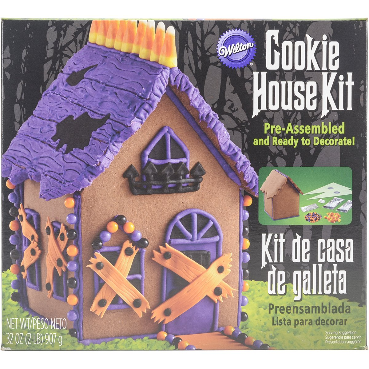haunted gingerbread house kit halloween haunted house decorating kit includes pre assembled cookie house approximately 65 in wide x 325 in deep x 7