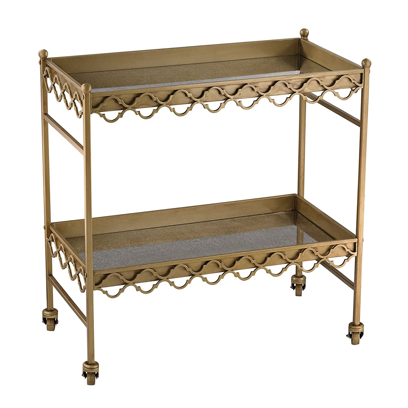 Sterling Industries Gold Rectangular Quatrefoil Bar Cart 0