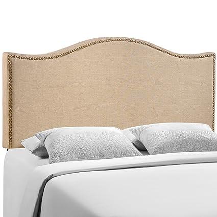LexMod EEI-1607-BLK-SET 62-Inch Curl Nailhead Upholstered Headboard, Queen, Cafe
