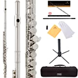 Mendini by Cecilio Premium Grade Silver Nickel Closed Hole C Flute with Stand, Book, Deluxe Case and Warranty, MFE_JN+SD+PB (Color: Silver Nickel)