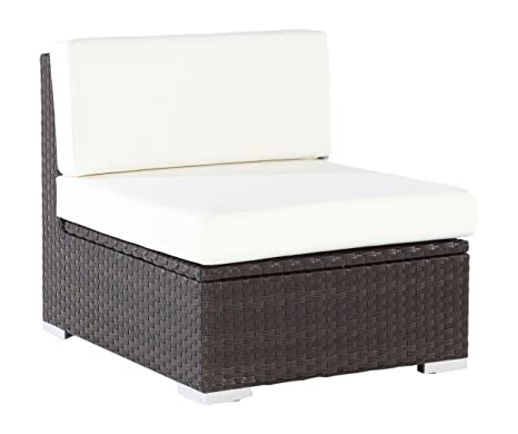 OUTFLEXX Mittelelement aus hochwertigem Poly-Rattan, braun mit Kissenboxfunktion, ca. 70 x 85 x 70 cm, inkl. Kissen/Polster, Loungesessel in reizvollem Design, vielseitig kombinierbar, wetterfest