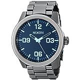 Nixon Men's Corporal Sterling Silver Watch One Size, Gunmetal/Blue Crystal