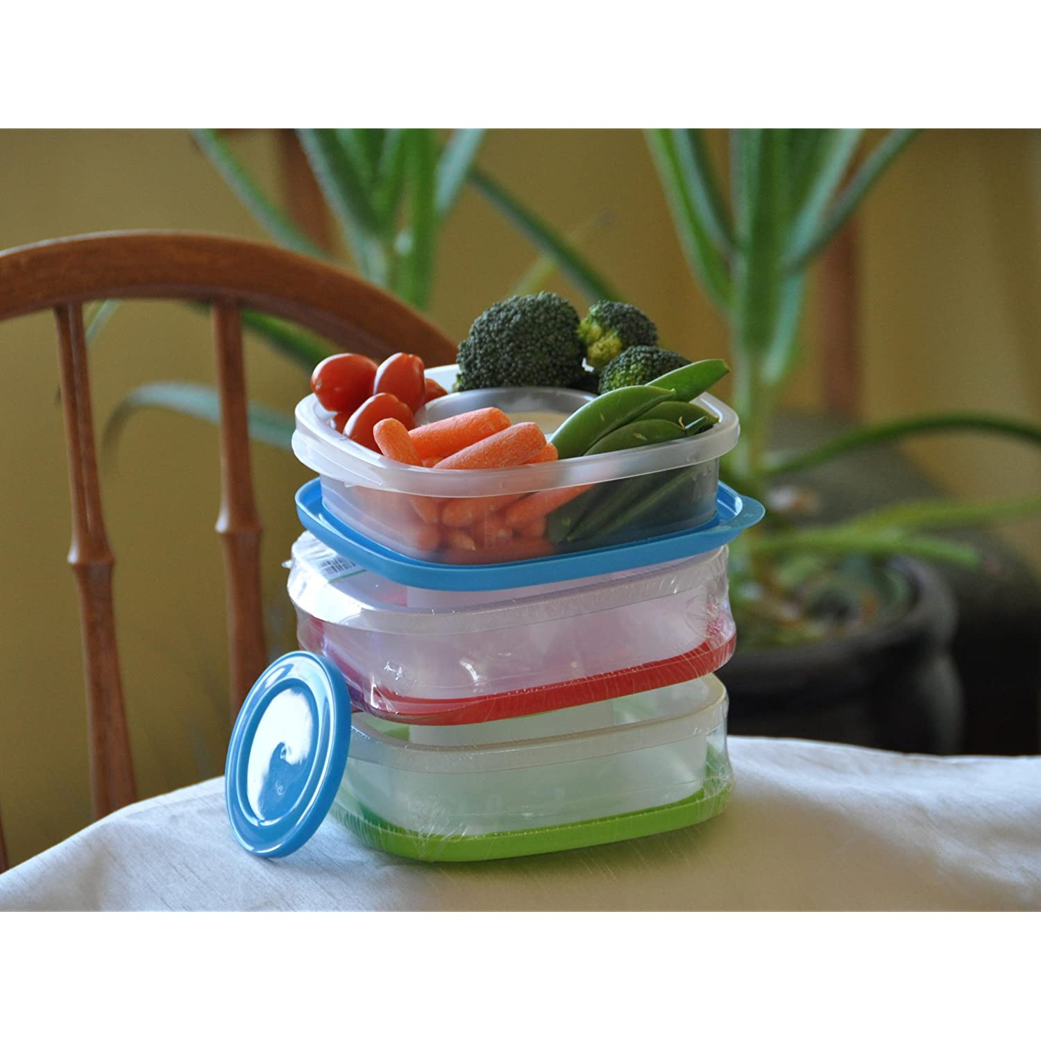 Lunch Box for Work Veggie Containers with Separate Lidded Dip Slot Set of 3 Easy Open Lids