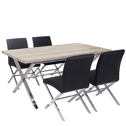 Esszimmergarnitur Fano, Tisch + 4 Stuhle, 3D-Struktur Kunstleder ~ Eiche-Optik, Stuhl schwarz