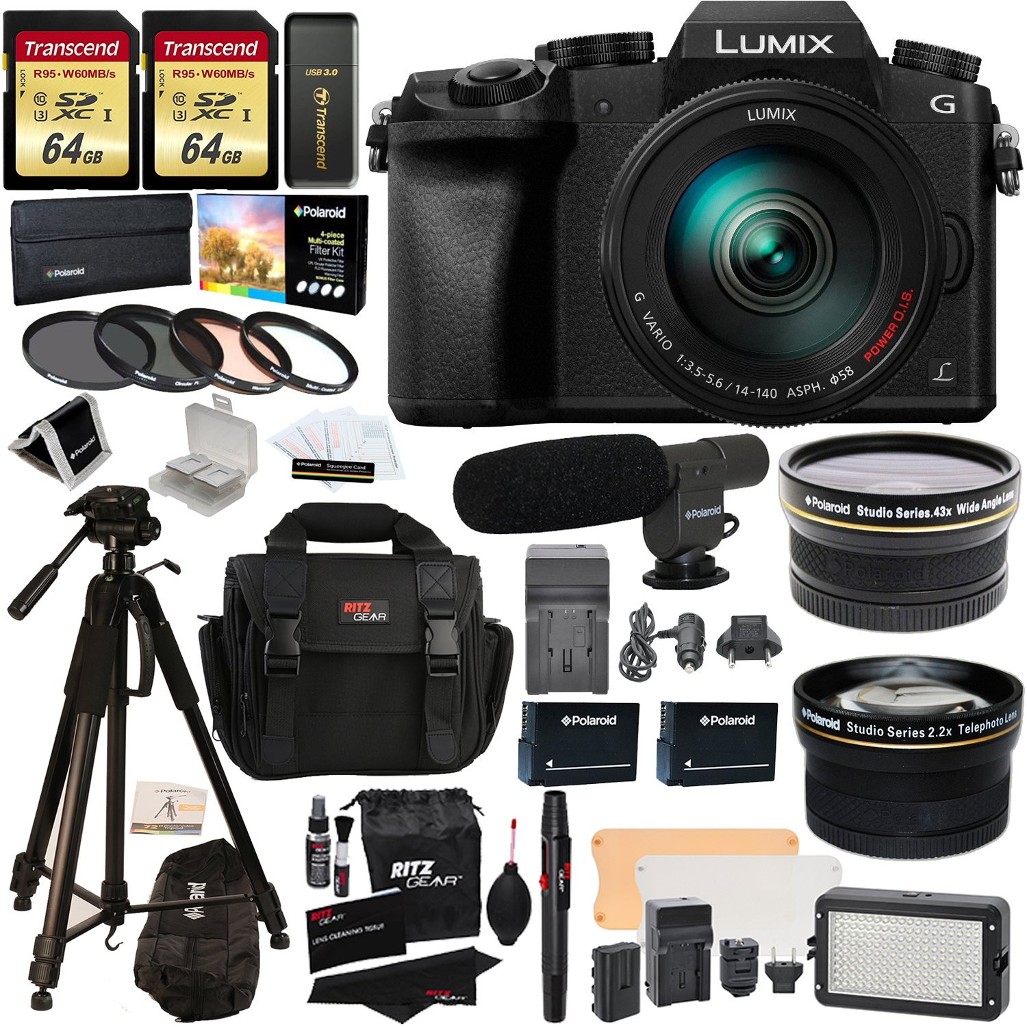 Panasonic DMC-G7HK Digital Single Lens Mirrorless Camera 14-140 mm Lens Kit, 4K + 2 Transcend 64 GB + LED Kit + Polaroid 72'' Tripod + Microphone + Polaroid Wide Angle + 2.2X HD Telephoto Lenses + More
