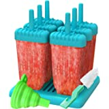 Ozera Reusable Popsicle Molds Ice Pop Molds Maker - Set of 6 - With Silicone Funnel & Cleaning Brush - Blue