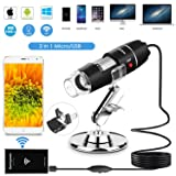 Wifi USB Microscope 1000x Digital Handheld Microscope Wifi Endoscope 8 LED with 2 in 1 Micro USB Support for Android Smartphone, iPhone, Tablet, Widows by Sunnywoo (Color: Black)